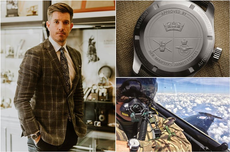 Clockwise from left: Bremont ambassador Brian Wood MC with the Bremont Broadsword, the case back design of the Armed Forces Collection and an example of a bespoke Bremont Military chronometer in action.