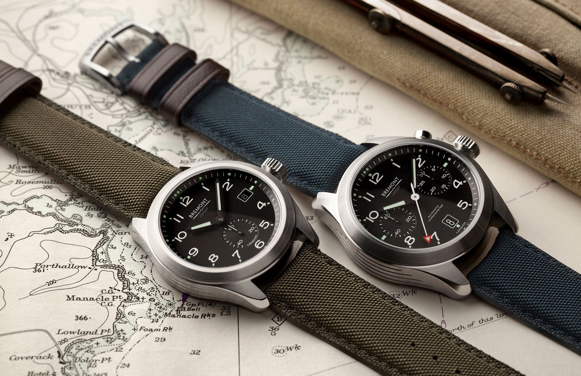 Two of the new timepieces from The Armed Forces Collection, namely the Bremont Broadsword (left) and the Bremont Arrow (right).