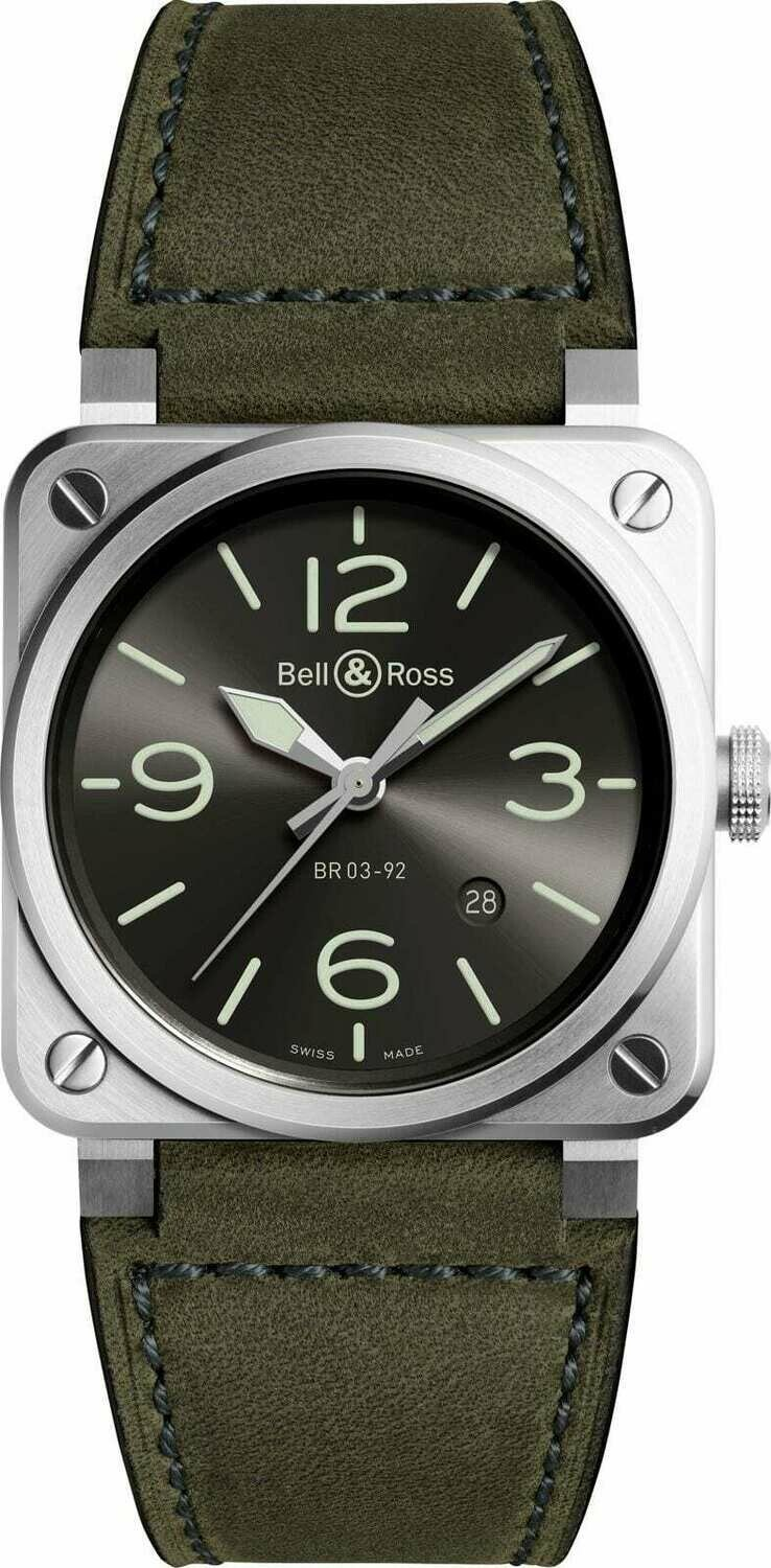 Bell & Ross BR 03-92 Grey Lum BR0392-GC3-ST/SCA NEW